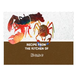 Cartes mignonnes culinaires de recette de crabe et