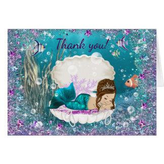 Cartes mignonnes de Merci de baby shower de sirène