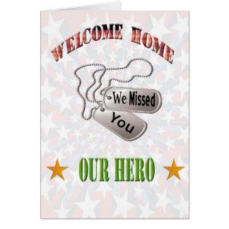 Cartes Mlle à la maison bienvenue You Card de militaires