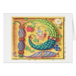 """Cartes Mme 134 a illuminé la lettre """"P"""" décorée du flowe"""