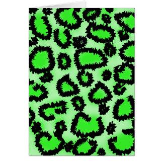 Cartes Modèle d'empreinte de léopard de noir et de vert
