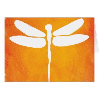 Cartes Modèle jaune-orange blanc d'aquarelle de libellule
