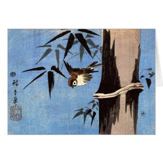Cartes Moineau et bambou, Ando Hiroshige