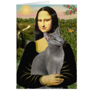 Cartes Mona Lisa - chat bleu russe
