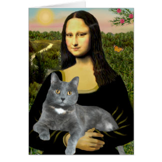 Cartes Mona Lisa - chat gris