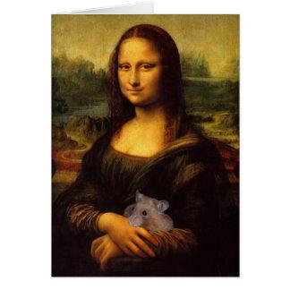 Cartes Mona Lisa drôle avec le hamster doux
