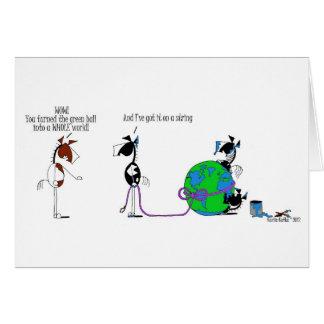 Cartes Monde drôle sur une bande dessinée de cheval de