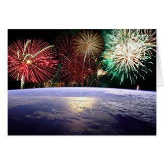 Cartes Monde et feux d'artifice