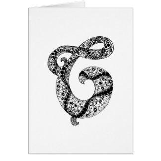 Cartes Monogramme de la lettre C en noir et blanc