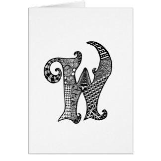 Cartes Monogramme de la lettre W en noir et blanc