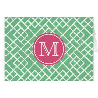 Cartes Monogramme en bambou géométrique vert et rose de