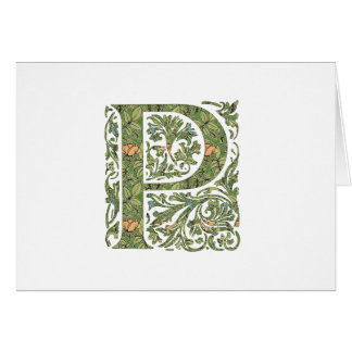Cartes Monogramme feuillu floral fleuri de P