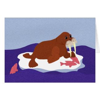 Cartes Morse sur l'iceberg avec des poissons