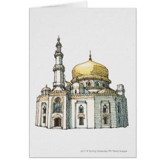 Cartes Mosquée avec le dôme et le minaret d'oignon d'or