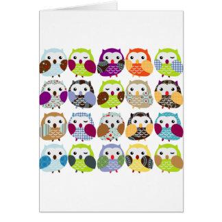 Cartes Motif coloré de hibou