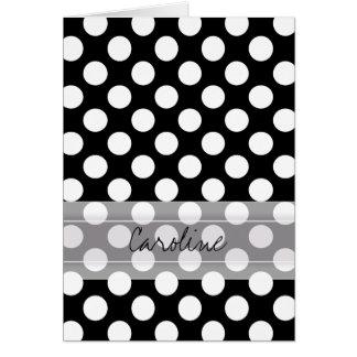 Cartes Motif de point à la mode blanc noir de polka