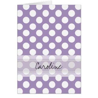 Cartes Motif de point à la mode blanc pourpre de polka