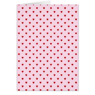 Cartes Motif doux des coeurs rouges sur le rose