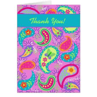 Cartes Motif moderne de Paisley de turquoise rose magenta