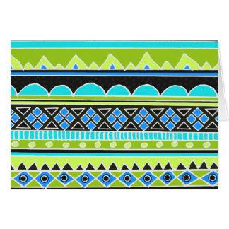 Cartes Motif tribal vert et bleu au néon