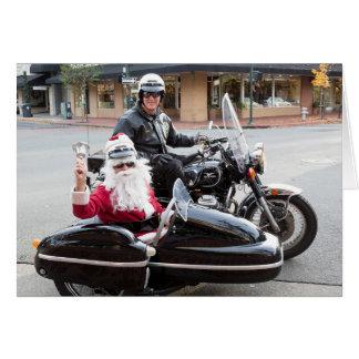 Cartes Moto avec le père noël dans le sidecar