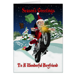 Cartes Moto Père Noël d'ami avec des cadeaux de vol