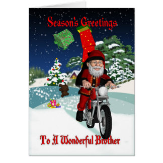 Cartes Moto Père Noël de frère avec des cadeaux de vol