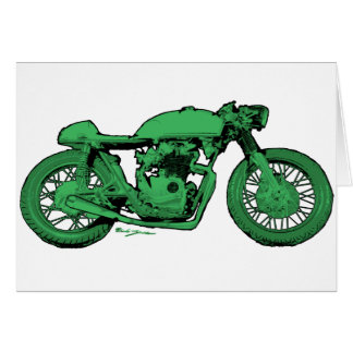 Cartes Moto verte de cru de coureur de café