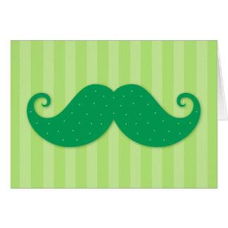 Cartes Moustache à la mode verte de hippie