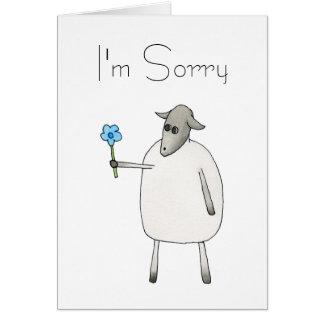 Cartes Moutons donnant une fleur, désolée