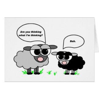 Cartes Moutons noirs et gris. Êtes vous pensant ce que