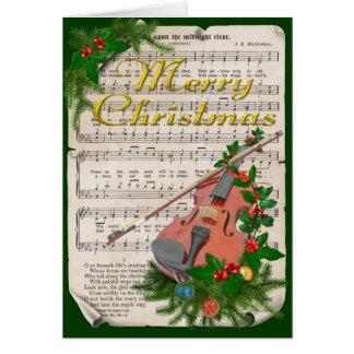 Cartes Musique de feuille vintage de Noël avec le violon