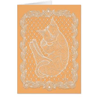 Cartes Napperon de dentelle de chat de sommeil