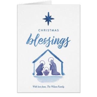 Cartes Nativité de bénédictions de Noël d'aquarelle pliée