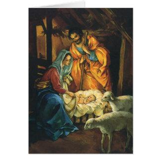 Cartes Nativité vintage de Noël, bébé Jésus dans Manger