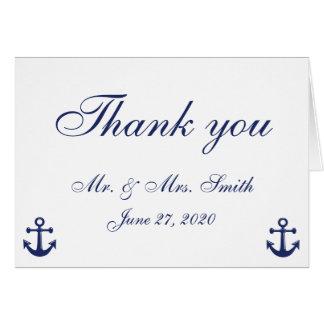 Cartes nautiques de Merci de mariage de bleu