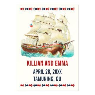 Cartes nautiques vintages d'endroit de mariage carte de visite