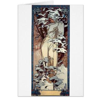 Cartes neige de femme d'affiche de nouveau d'art d'hiver