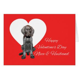 Cartes Nièce et mari Valentine grisâtre brillant