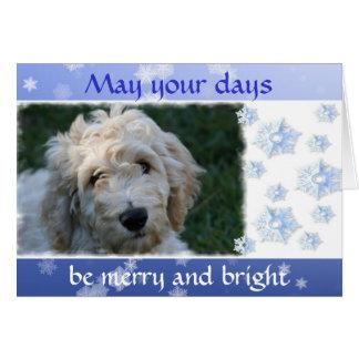 Cartes Noël blanc de chien de griffonnage avec le vers