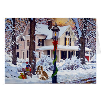 Cartes Noël cavalier de boîte aux lettres d'épagneul du