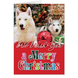 Cartes Noël - chiens de traîneau sibériens - Bailey et