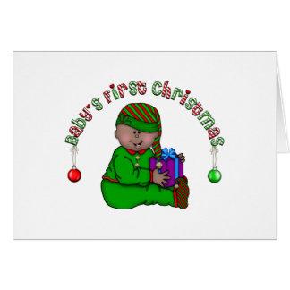 Cartes Noël d'Afro-américain de bébé d'Elf ęr