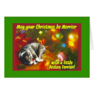 Cartes Noël de Boston Terrier