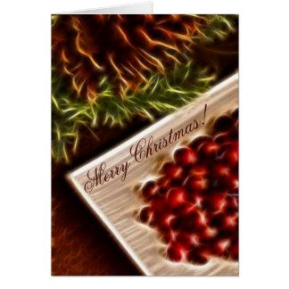 Cartes Noël de canneberge de fractale avec le texte