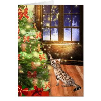 Cartes Noël de chat du Bengale