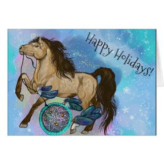 Cartes Noël de cheval de Dreamcatcher de peau de daim