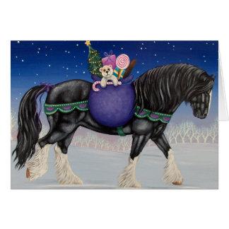 Cartes Noël de cheval de trait de Shire