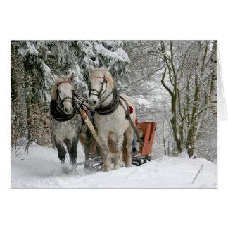 Cartes Noël de chevaux de trait