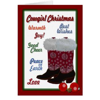 Cartes Noël de cow-girl